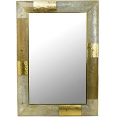 Murano Glass and Brass 'Placche' Mirror