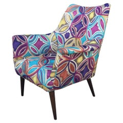 Colorful Mid-Century Modern Danish Chair in Abstract Expressionist Fabric