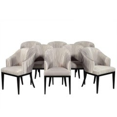 Set of Eight Carrocel Custom Grey Pleated Dining Chairs