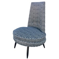 Charcoal Grey and White Ikat Polka Dot Mid-Century Modern High Back Chair