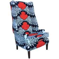 Wingback Chair in Vintage Mid-Century Modern Red White Blue Scandinavian Fabric