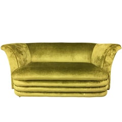 Mid-Century Modern Art Deco Inspired Chartreuse Velvet Sofa and Loveseat