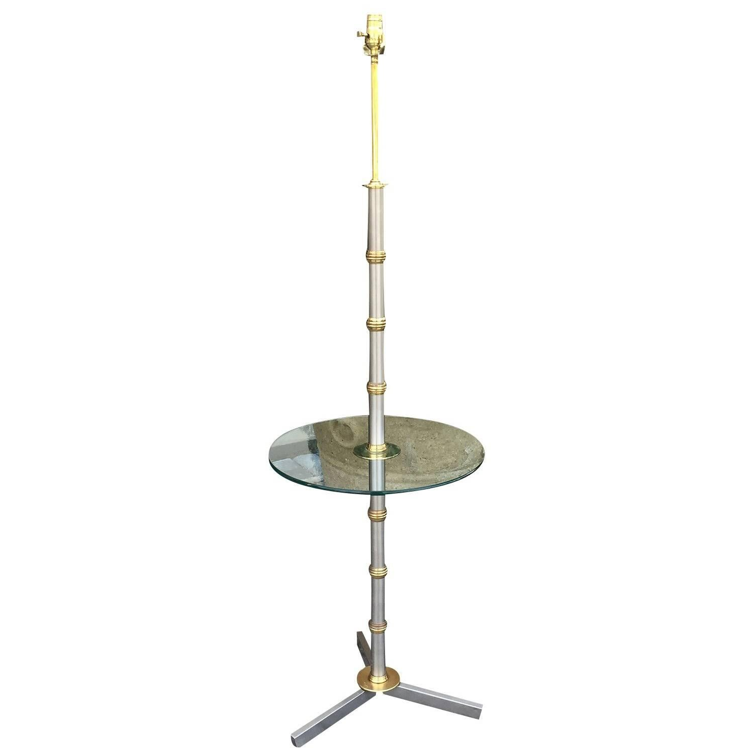 Brass and Steel Floor Lamp with Table, circa 1970