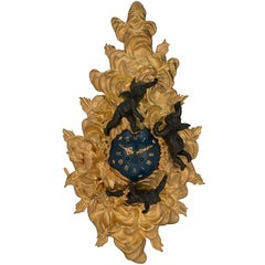 French 19th Century Louis XV St. Ormolu and Patinated Bronze Cartel Clock