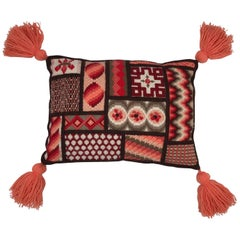 Moroccan Style Needlepoint Pillow with Tassels