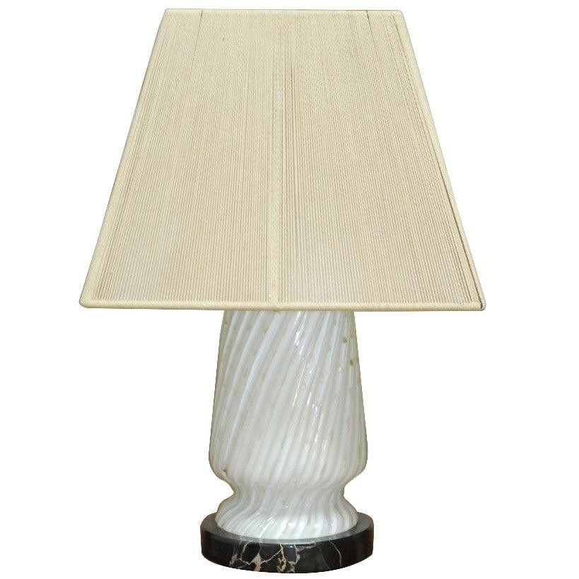 Italian Art Deco Murano Glass and Marble Lamp