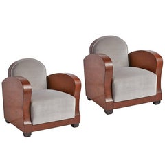 Pair of French Art Deco Club Chairs in Burl Wood and Velvet, circa 1930