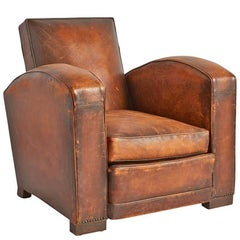 French Bow Arm Leather Club Chair, circa 1930s