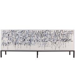 White Graffiti cabinet, art door sideboard, custom credenza