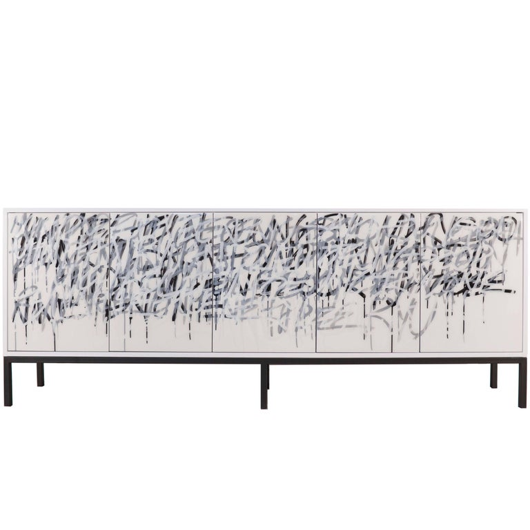 White Graffiti Art Door Cabinet Custom Sideboard by Morgan Clayhall