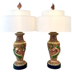 Mid-20th Century Pair Tony Duquette Style Seashell Dragon Motif Table Lamps