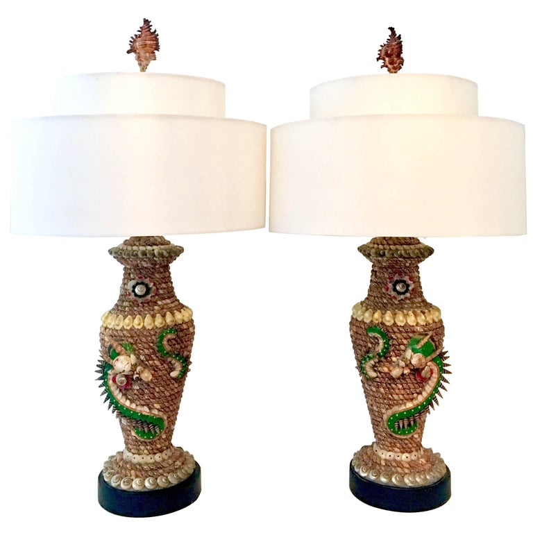 Pair Of Antique Tony Duquette Style Seashell Dragon Motif Table Lamps