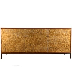 Gold Graffiti Cabinet  Sideboard with Custom Art Work by Morgan Clayhall