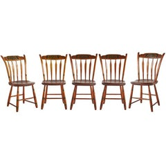 Set of Five Pennsylvania Painted Windsor Chairs, circa 1850s
