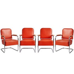 Set of Four Lloyd Co. Lounge Chairs with Maple Armrests, circa 1930