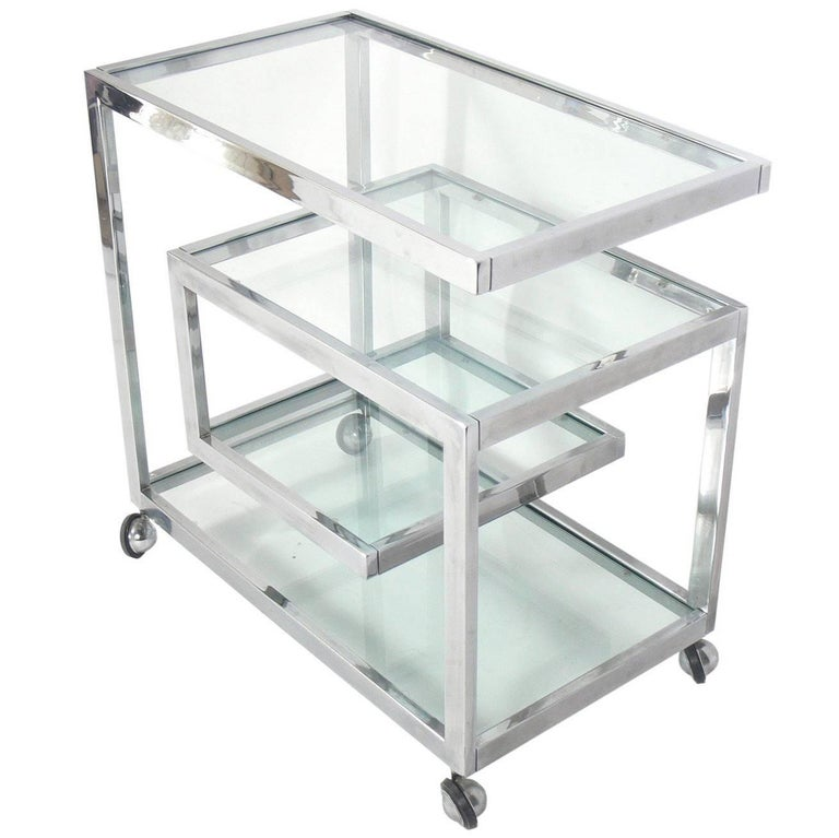 Sleek Chrome Bar Cart