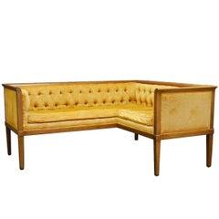 Midcentury Louis XVI Style Tufted Velvet Corner Settee