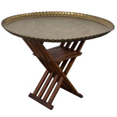 Brass Tray Table with Rosewood Slat Base, Morroco, 1960s