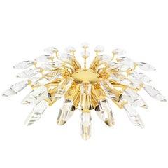 Italian Flush Mount Light by Stilkronen, Gilt Brass Crystal Glass, 1970s