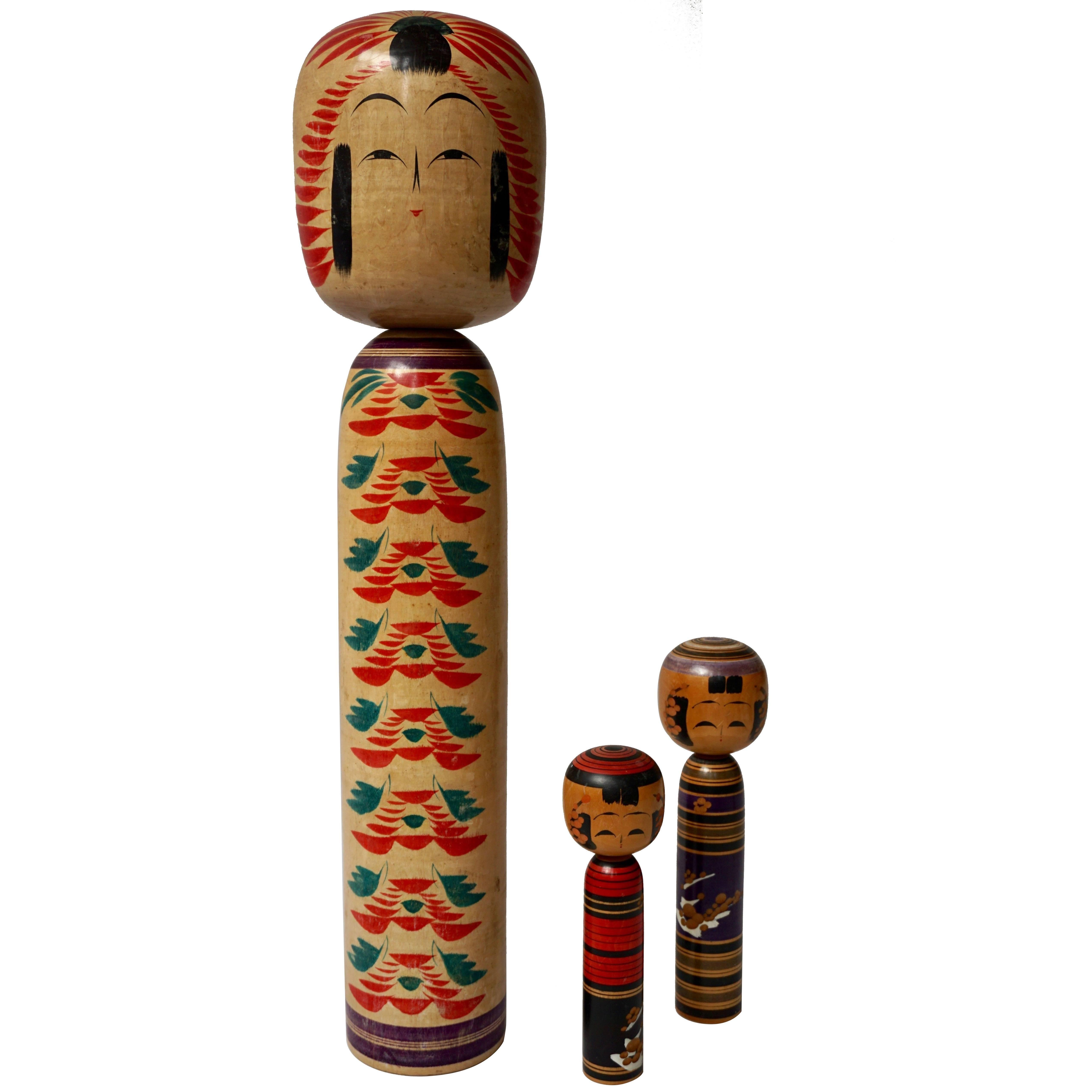 Set of Three Kokeshi Dolls from Northern Japan