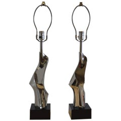 Pair of Nickel Small Lamps, Laurel Lamp Co.