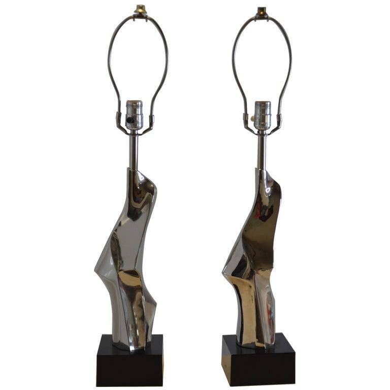 Pair of Nickel Small Lamps, Laurel Lamp Co.