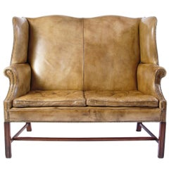 English High Back Leather Settee