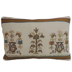 19th Century Turkish Floral Embroidery Decorative Lumbar Pillow