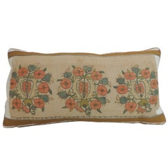 19th Century Turkish Orange and Green Floral Embroidery Decorative Bolster Pillo