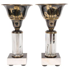 Pair of Art Deco Onyx, Marble, Bronze and Glass Uplights with Gilded Accents