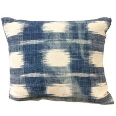 Late 18th Century French Indigo Flamme Ikat Square Pillow