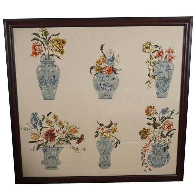 Fabric Panel Of Vases And Flowers For Sale At 1stdibs