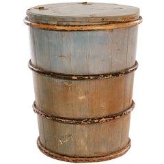 Cylindrical Pine Folk Art Barrel with Original Blue Paint
