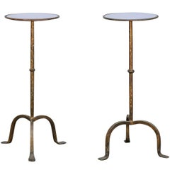 Vintage Gilt Wrought-Iron Drinks Table with Round Mirrored Top, circa 1960