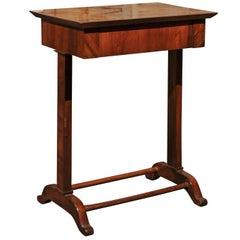 Austrian 1840s Petite Biedermeier Side Table with Frieze Drawer and Trestle Base