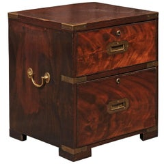 English Campaign Flaming Mahogany Box with Brass Fittings from the 1870s