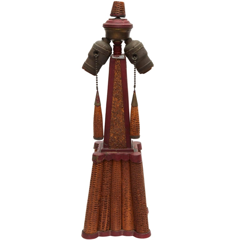 American Folk Art Corn Cob Table Lamp