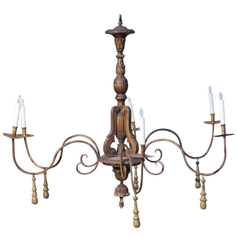 Italian 19th Century Six-Light Parcel-Gilt Wooden Chandelier with Swoop Arms