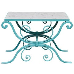 Small Painted Wrought Iron Table with Marble Top