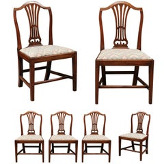 George III Set of Eight English Shield Back Mahogany Dining Chairs