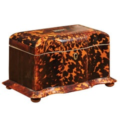Early 19th Century English Regency Tortoiseshell Tea Caddy with Bun Feet
