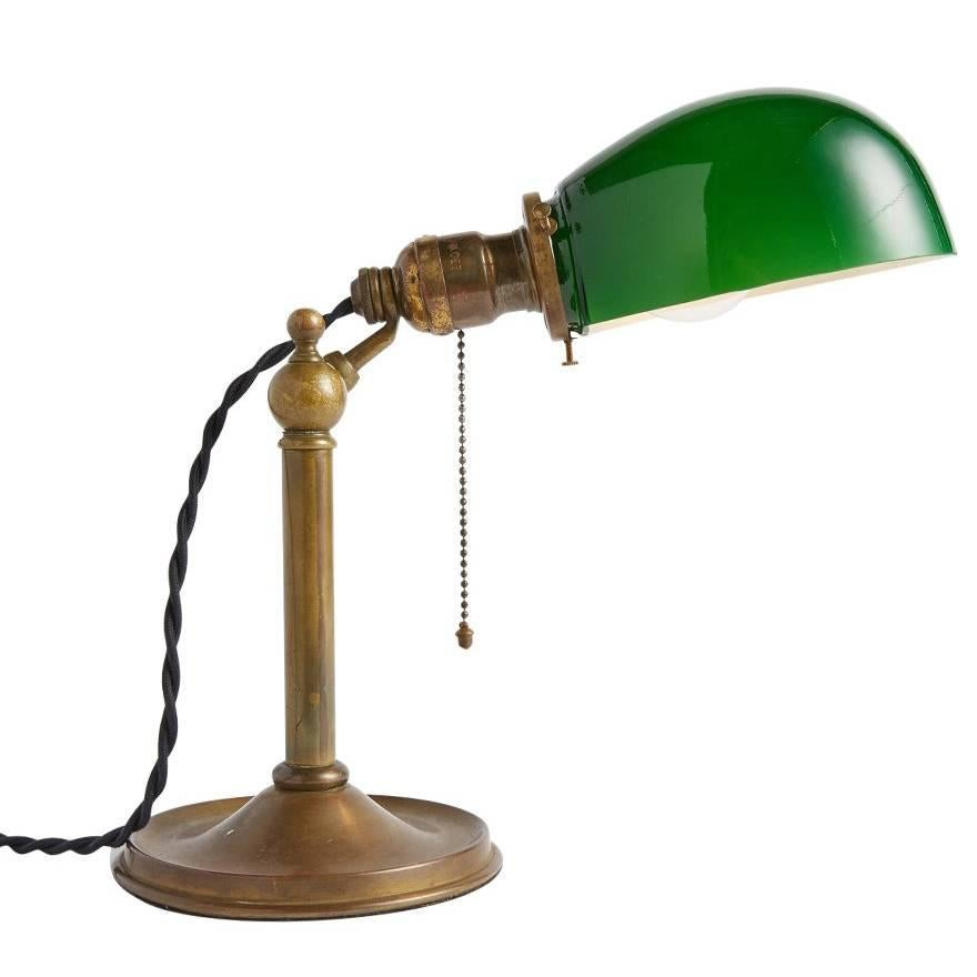 Industrial Desk Lamp with Green Emeralite Shade, circa 1905 For ...