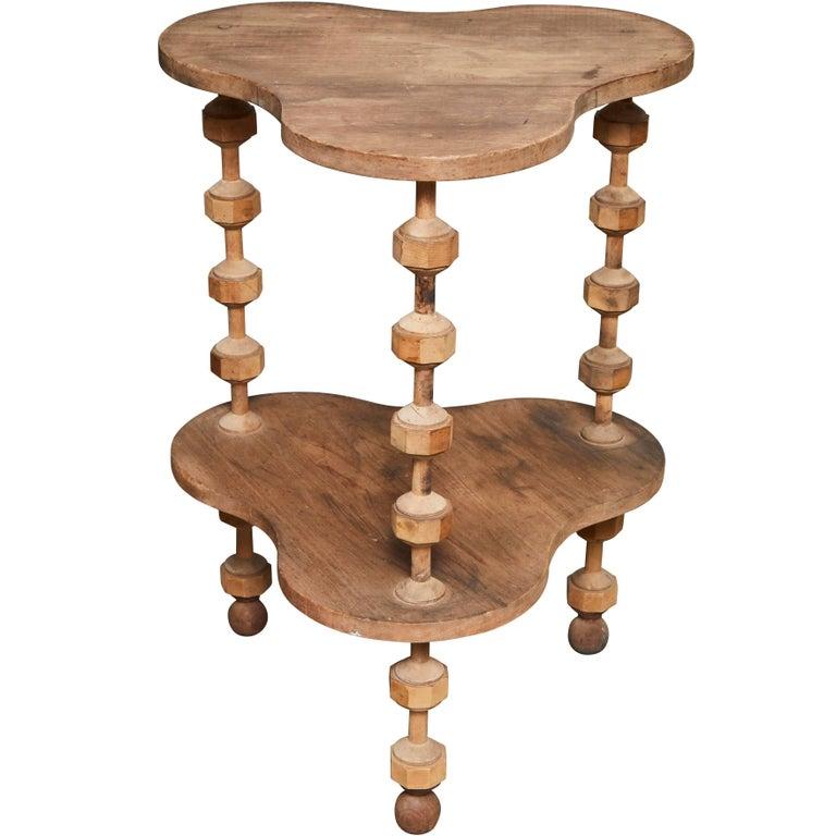 Uniquely Shaped Folk Art Table