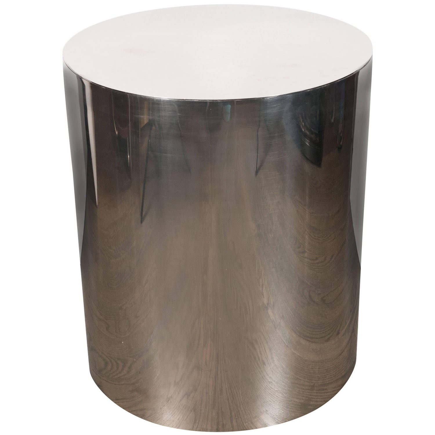American mid century modern cylindrical chrome side table or american mid century modern cylindrical chrome side table or pedestal for sale at 1stdibs geotapseo Image collections