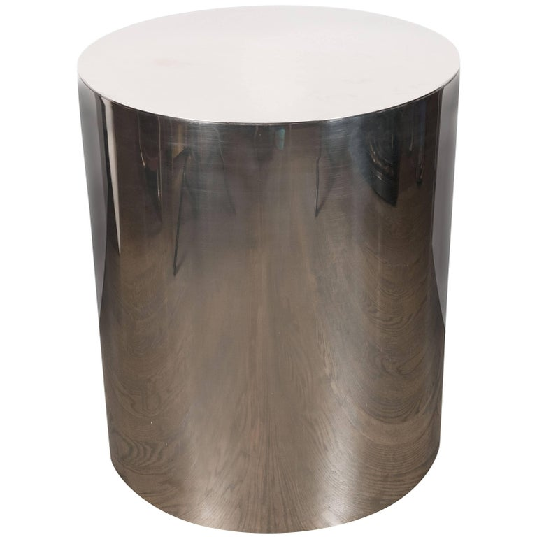 American Mid-Century Modern Cylindrical Chrome Side Table or Pedestal For Sale
