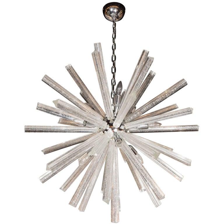 Murano Glass Triedre Chrome Sputnik Chandelier with 24-Carat White Gold Flecks