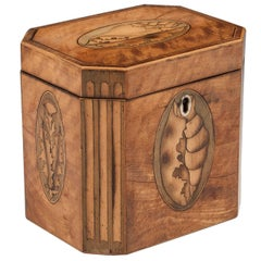 Antique Shell Inlaid Satinwood Tea Caddy, 18th Century