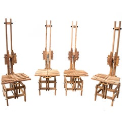 """Modern Wooden Chairs by Anacleto Spazzapan 4 Sedie """"Sonno"""", Italy, 1996"""