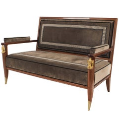 French Mid-Century Settee, by Jean Pascaud & Vadim Androusov