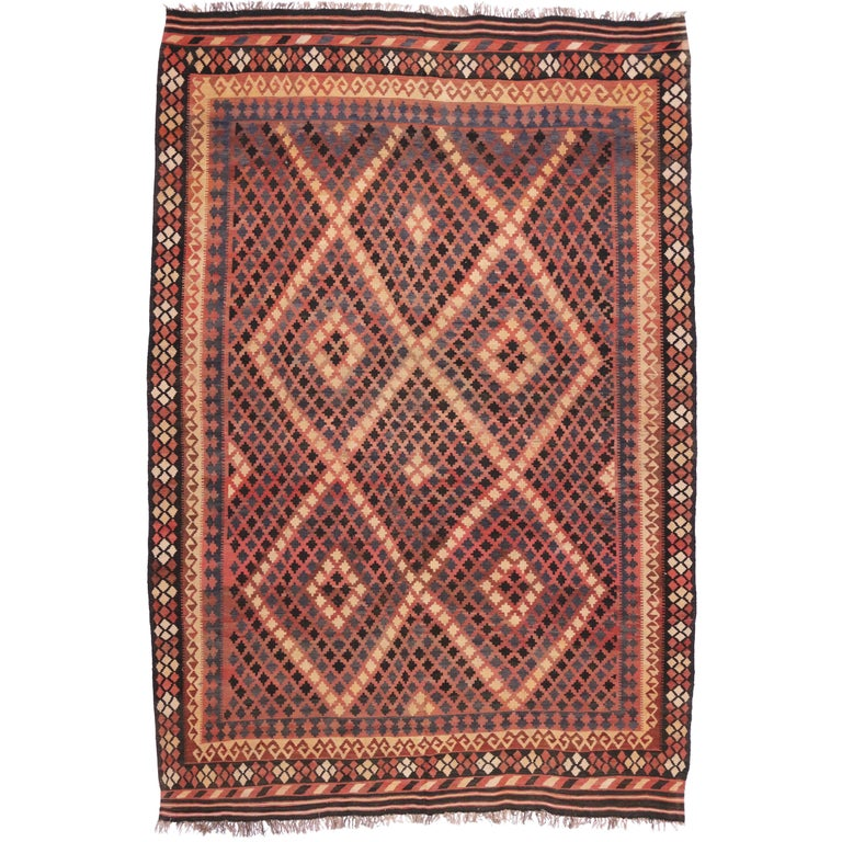 Vintage Afghan Kilim Rug with Modern Tribal Style For Sale